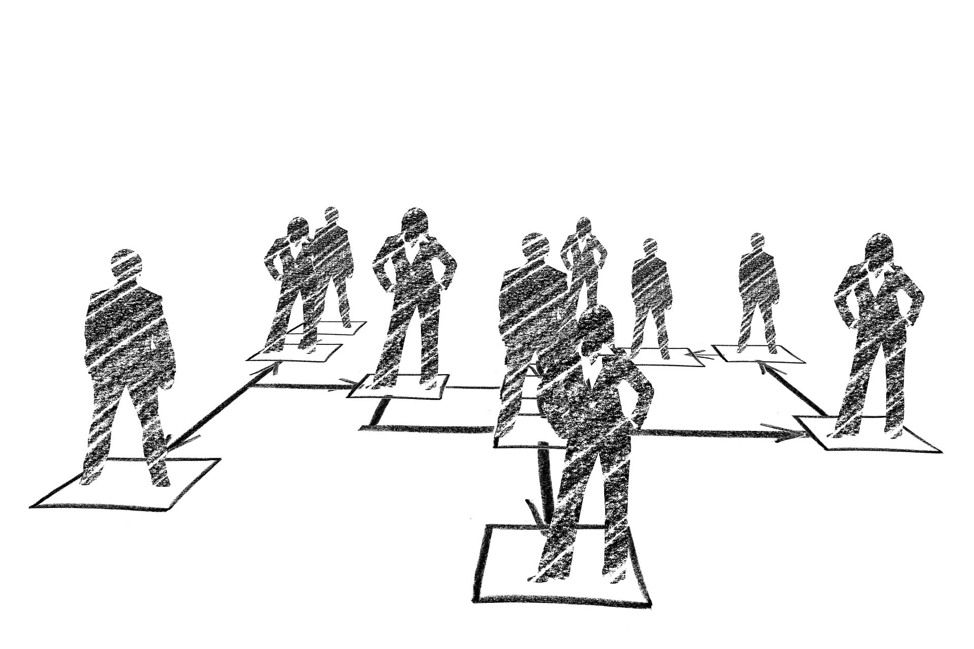 Pencil drawing of business people silhouettes standing on drawn boxes