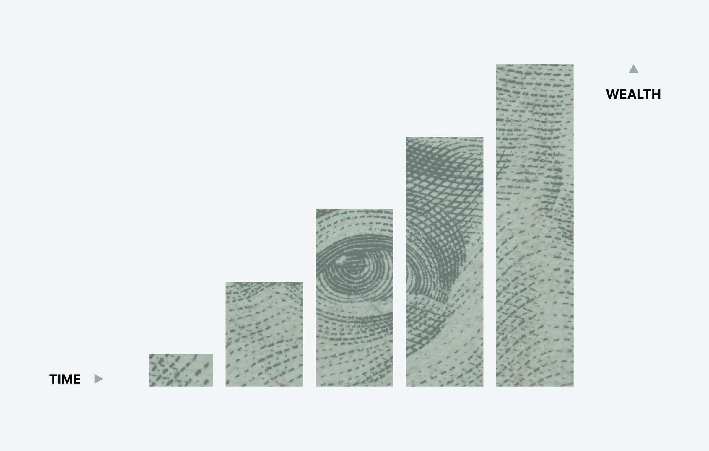 Bar chart with a bank note decoration